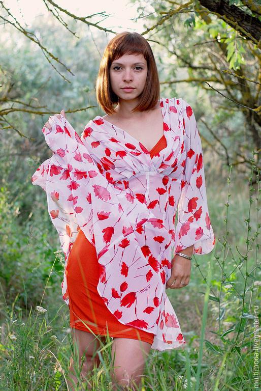 Платья ручной работы. Ярмарка Мастеров - ручная работа. Купить Платье ..Маки ..шифон.Блюмарин... Handmade. Белый, модное платье
