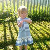 Работы для детей, ручной работы. Ярмарка Мастеров - ручная работа вязаное  летнее платье в полоску. Handmade.