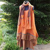 Одежда ручной работы. Ярмарка Мастеров - ручная работа Льняной комплект бохо:сарафан+юбка+шарф. Handmade.