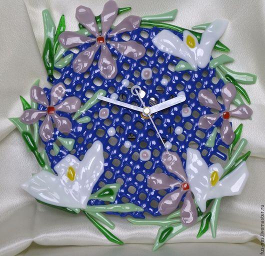 Часы для дома ручной работы. Ярмарка Мастеров - ручная работа. Купить Часики фьюзинг Нежные. Handmade. Тёмно-синий, Фьюзинг