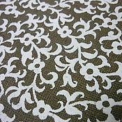 Ткани ручной работы. Ярмарка Мастеров - ручная работа Ткань лен 100% Белые узоры. Handmade.