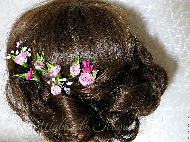 купить шпильки с цветами для волос