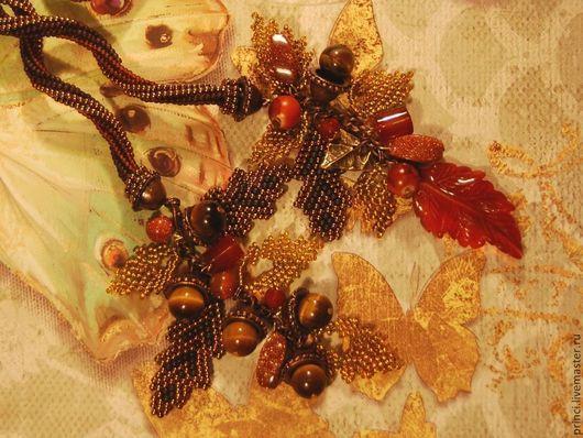 """Лариаты ручной работы. Ярмарка Мастеров - ручная работа. Купить Бисерный жгут """"Золотая осень"""" с агатом и тигровым глазом. Handmade."""