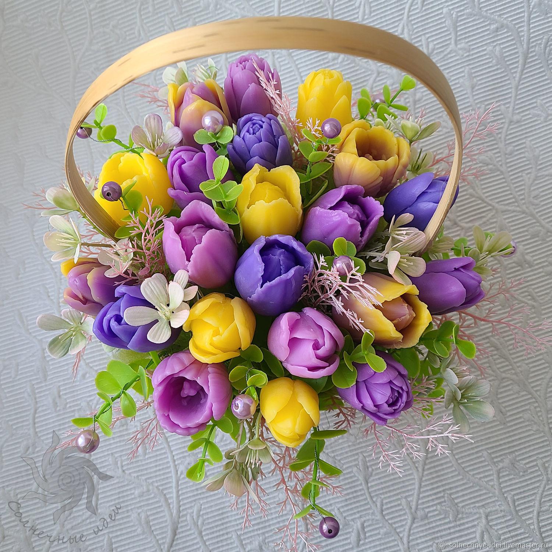 "Корзина тюльпанов из мыла ""Весна"", Подарки на 8 марта, Москва,  Фото №1"