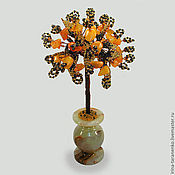 Цветы и флористика handmade. Livemaster - original item Tree of happiness carnelian stone in a vase of onyx. Handmade.