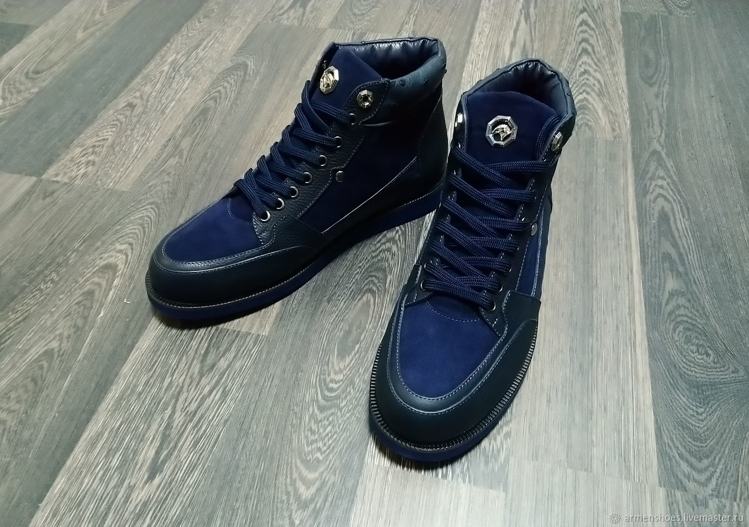 High-end sneakers, made of ostrich leather, genuine leather and suede, Training shoes, Tosno,  Фото №1