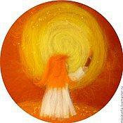 Картины и панно ручной работы. Ярмарка Мастеров - ручная работа Я рисую Солнце - 3D картина из шерсти. Handmade.