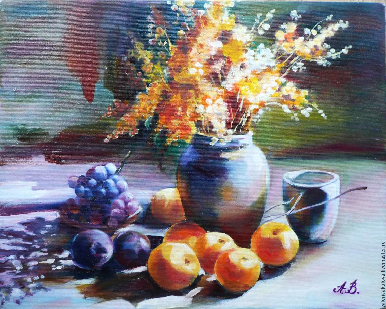 Натюрморт ручной работы. Ярмарка Мастеров - ручная работа. Купить Золотые персики. Handmade. Натюрморт маслом, персики и цветы маслом