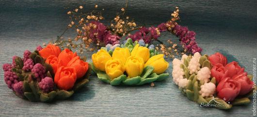 Букет весенних цветов. Подарки к праздникам. 8 марта.Подарочное мыло ручной работы.