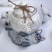 Сахарницы ручной работы. Ярмарка Мастеров - ручная работа Сахарница с котом. Handmade.