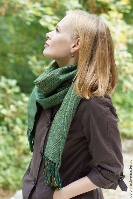 Шарфы и шарфики ручной работы. Ярмарка Мастеров - ручная работа. Купить Домотканый шарф bright stripes green. Handmade. Зеленый