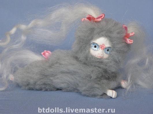 Миниатюра ручной работы. Ярмарка Мастеров - ручная работа. Купить куклы Ля Муры мини серые и серо-розовый(лежебоки) СКИДКА!. Handmade.