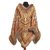 Одежда handmade. Livemaster - original item PONCHO WITH FUR TRIM. Handmade.