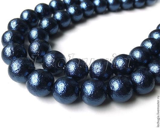 """Для украшений ручной работы. Ярмарка Мастеров - ручная работа. Купить Майорика """"Sapphire"""" с тиснением /шарик, 10 мм/. Handmade."""