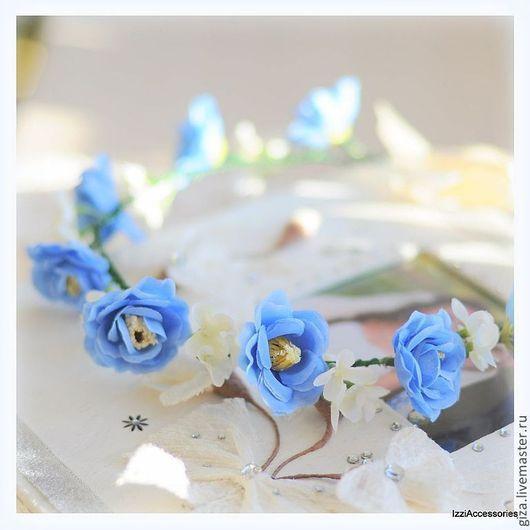 """Диадемы, обручи ручной работы. Ярмарка Мастеров - ручная работа. Купить Венок из цветов """"Сине-голубые цветочки"""", свадебный венок, венок. Handmade."""