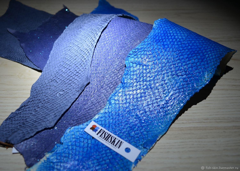 Другие виды рукоделия ручной работы. Ярмарка Мастеров - ручная работа. Купить Рыбья кожа синих оттенков (поверхностное окрашивание). Handmade.