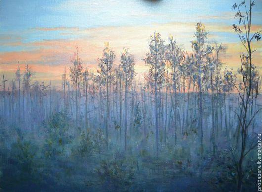 Пейзаж ручной работы. Ярмарка Мастеров - ручная работа. Купить Утро на болоте. Handmade. Сиреневый, лес, облака, болото, восход