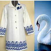 Одежда handmade. Livemaster - original item Coat women winter knitted Swan. Handmade.