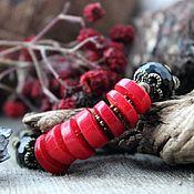 Украшения ручной работы. Ярмарка Мастеров - ручная работа красное и черное   -браслет. Handmade.