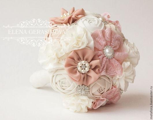 Свадебные цветы ручной работы. Ярмарка Мастеров - ручная работа. Купить Хлопковый Брошь Букет невесты пудровый розовый. Handmade.
