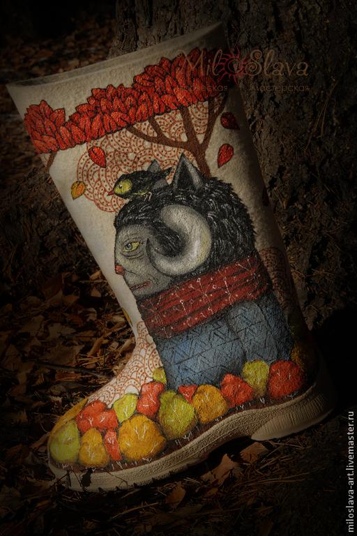 """Обувь ручной работы. Ярмарка Мастеров - ручная работа. Купить Валенки """"Вещий лес"""". Handmade. Купить валенки, лесная тема"""