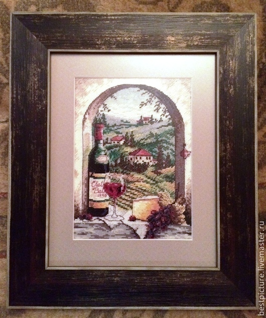 Натюрморт ручной работы. Ярмарка Мастеров - ручная работа. Купить Мечты о Тоскане. Handmade. Коралловый, пейзаж, вино, Вышитая картина