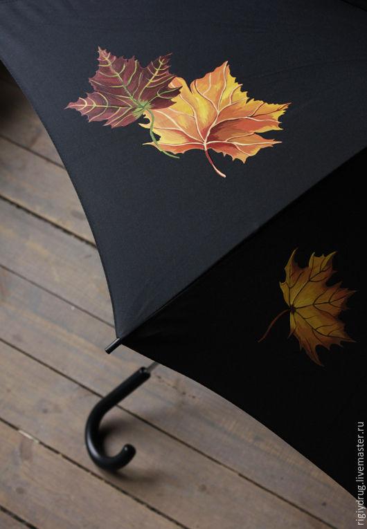 Зонты ручной работы. Ярмарка Мастеров - ручная работа. Купить Зонт с кленовым листом. Handmade. Зонт, осенние листья, роспись