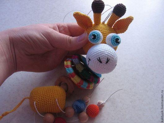 """Развивающие игрушки ручной работы. Ярмарка Мастеров - ручная работа. Купить Погремушка """"Жирафик"""". Handmade. Желтый, жирафик"""