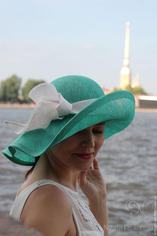 """Шляпы ручной работы. Ярмарка Мастеров - ручная работа. Купить Летняя шляпа """"Brise"""" (Бриз). Handmade. Мятный, Синамей, романтика"""