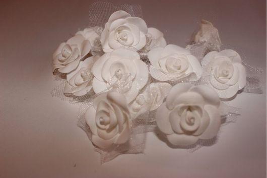 Материалы для флористики ручной работы. Ярмарка Мастеров - ручная работа. Купить Свадебные белые цветы с тюлем из пористой резины, 3см, ручной работа. Handmade.