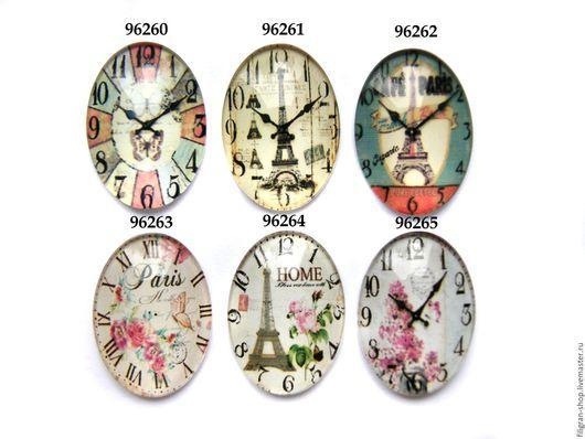 """Для украшений ручной работы. Ярмарка Мастеров - ручная работа. Купить Кабошон стеклянный 25х18 мм """"Часы"""". Handmade. Комбинированный"""