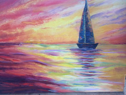 Пейзаж ручной работы. Ярмарка Мастеров - ручная работа. Купить Закат на море. Handmade. Комбинированный, закат на море, холст на подрамнике