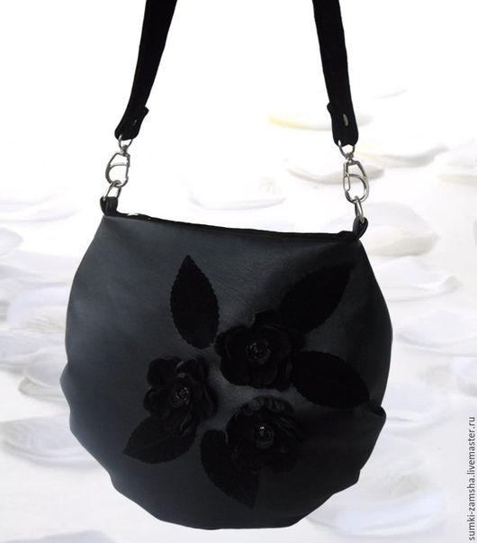 сумка кожаная, сумка кожаная женская, сумка кожаная чёрная, сумка кожаная черная, сумка кожаная через плечо, сумка кожаная с цветами, сумка кожаная подарок