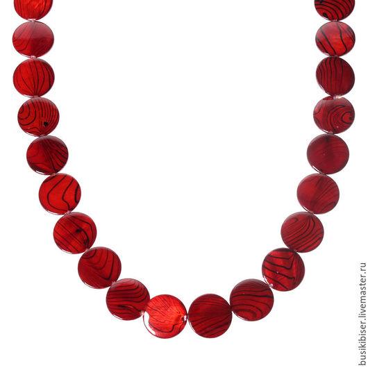 Бусины из раковины круглые красные