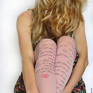 """Аксессуары ручной работы. Ярмарка Мастеров - ручная работа """"Алиса в стране чудес""""  Колготки с принтом. Handmade."""