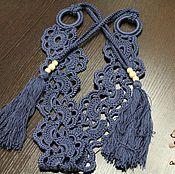 Аксессуары handmade. Livemaster - original item Openwork belt .knitted.Cornflower. Handmade.