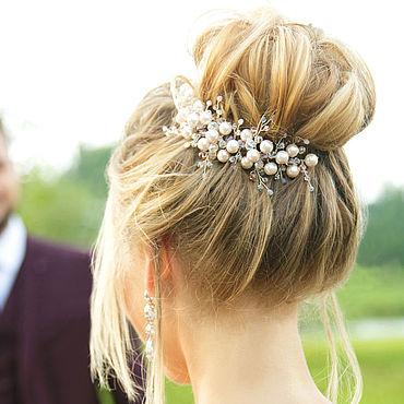 Свадебный салон ручной работы. Ярмарка Мастеров - ручная работа Веточка из бусин цвета розовой пудры для причёски невесты. Handmade.