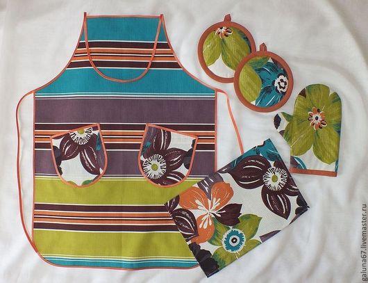 """Кухня ручной работы. Ярмарка Мастеров - ручная работа. Купить """"Полоски и Цветы""""  №3 набор для кухни. Handmade. Полоски, ватин"""