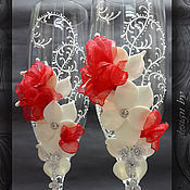 """Свадебный салон ручной работы. Ярмарка Мастеров - ручная работа Свадебные бокалы """"Валентайс"""". Handmade."""