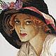 Люди, ручной работы. Картина вышитая крестиком Портрет дамы в шляпе. Татьяна Фурина (moya-lentochka). Интернет-магазин Ярмарка Мастеров.