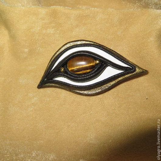 """Броши ручной работы. Ярмарка Мастеров - ручная работа. Купить """" Глаз""""Брошь из кожи с тигровым глазом.. Handmade. Чёрно-белый"""