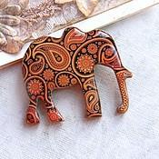 Украшения ручной работы. Ярмарка Мастеров - ручная работа Брошь слон рыжий с пейсли. Handmade.