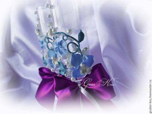 """Свадебные аксессуары ручной работы. Ярмарка Мастеров - ручная работа. Купить Свадебные бокалы ручной работы """"Голубые орхидеи"""". Handmade."""