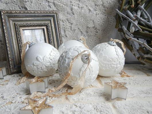 """Новый год 2017 ручной работы. Ярмарка Мастеров - ручная работа. Купить Набор елочных шаров """"Винтаж"""" 4 штуки. Handmade."""
