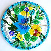 Для дома и интерьера handmade. Livemaster - original item Wall clock made of glass. Glass fusing. White Blue clock. Home Decor.F. Handmade.
