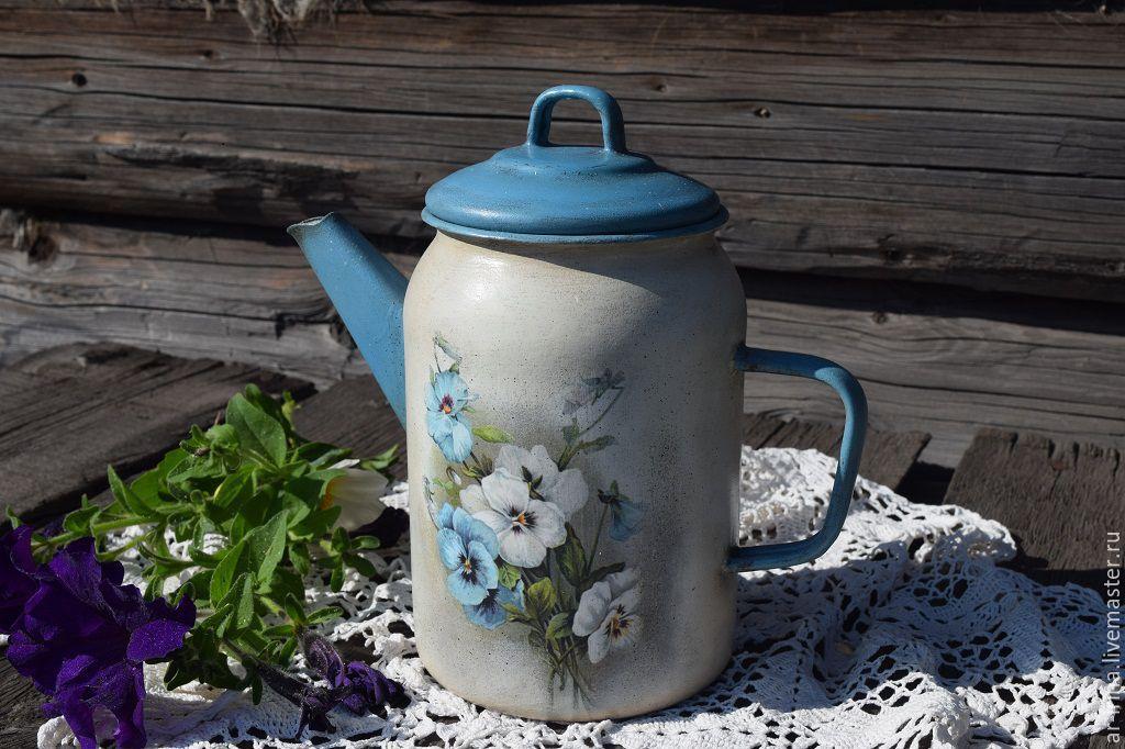 Декупаж чайника эмалированного