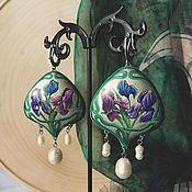 Серьги классические ручной работы. Ярмарка Мастеров - ручная работа Серьги в стиле Арт-нуво Ирисы. Handmade.