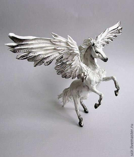 """Игрушки животные, ручной работы. Ярмарка Мастеров - ручная работа. Купить фигурка большая """"чёрно-белый пегас"""" (лошадь, на дыбы). Handmade."""