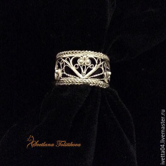 """Кольца ручной работы. Ярмарка Мастеров - ручная работа. Купить Серебряное кольцо """"Love you..."""" в технике филигрань. Handmade."""