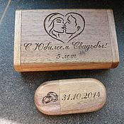 Сувениры и подарки handmade. Livemaster - original item Wooden flash drive with engraving, gift made of wood, souvenir. Handmade.